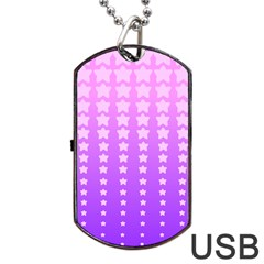 Purple And Pink Stars Dog Tag Usb Flash (one Side) by Jojostore