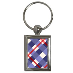 Red And Purple Plaid Key Chains (rectangle)  by Jojostore