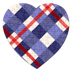 Red And Purple Plaid Jigsaw Puzzle (heart) by Jojostore