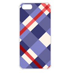 Red And Purple Plaid Apple Iphone 5 Seamless Case (white) by Jojostore