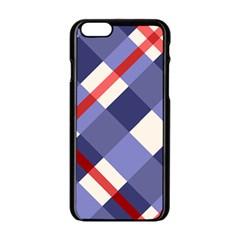 Red And Purple Plaid Apple Iphone 6/6s Black Enamel Case by Jojostore