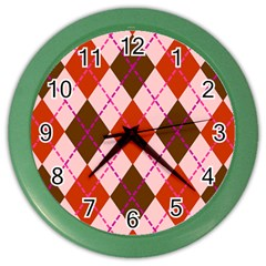 Texture Background Argyle Brown Color Wall Clocks by Jojostore