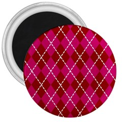 Texture Background Argyle Pink Red 3  Magnets by Jojostore