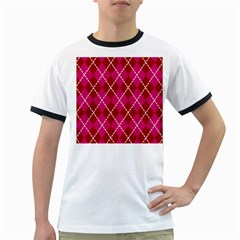 Texture Background Argyle Pink Red Ringer T Shirts by Jojostore