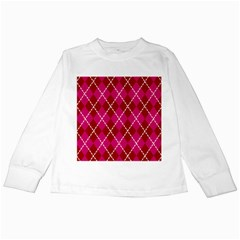 Texture Background Argyle Pink Red Kids Long Sleeve T Shirts by Jojostore