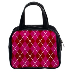 Texture Background Argyle Pink Red Classic Handbags (2 Sides) by Jojostore