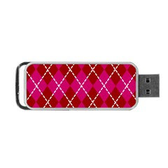 Texture Background Argyle Pink Red Portable Usb Flash (one Side) by Jojostore