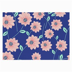 Seamless Blue Floral Large Glasses Cloth (2 Side) by Jojostore