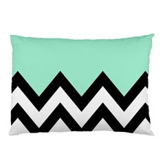 Mint Green Chevron Pillow Case (two Sides) by Jojostore
