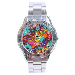 Monsters Pattern Stainless Steel Analogue Watch by Jojostore