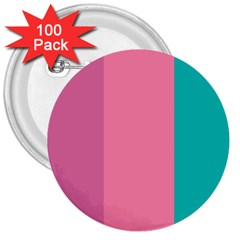 Pink Blue Three Color 3  Buttons (100 Pack)  by Jojostore