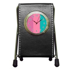 Pink Blue Three Color Pen Holder Desk Clocks by Jojostore