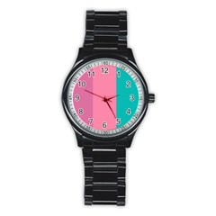 Pink Blue Three Color Stainless Steel Round Watch by Jojostore