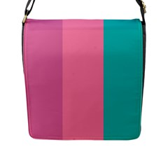 Pink Blue Three Color Flap Messenger Bag (l)  by Jojostore