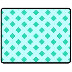 Plaid Blue Box Fleece Blanket (medium)  by Jojostore