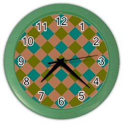 Plaid Box Brown Blue Color Wall Clocks by Jojostore