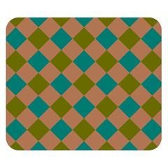 Plaid Box Brown Blue Double Sided Flano Blanket (small)  by Jojostore