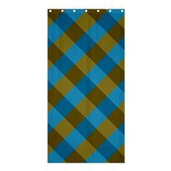Plaid Line Brown Blue Box Shower Curtain 36  X 72  (stall)  by Jojostore
