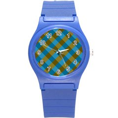 Plaid Line Brown Blue Box Round Plastic Sport Watch (s) by Jojostore