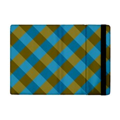 Plaid Line Brown Blue Box Ipad Mini 2 Flip Cases