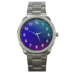 Polyart Dark Blue Purple Pattern Sport Metal Watch by Jojostore