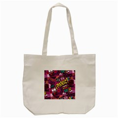 Panic Pattern Tote Bag (cream) by Jojostore