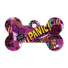 Panic Pattern Dog Tag Bone (one Side) by Jojostore