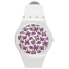 Pink Purple Butterfly Round Plastic Sport Watch (m) by Jojostore
