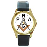 Prince Hall Round Gold Metal Watch