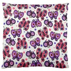 Pink Purple Butterfly Standard Flano Cushion Case (one Side)