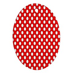 Red Circular Pattern Ornament (oval)  by Jojostore