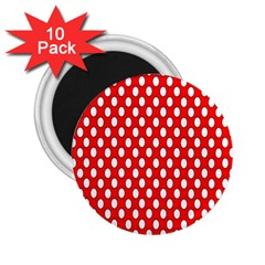 Red Circular Pattern 2 25  Magnets (10 Pack)  by Jojostore