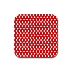 Red Circular Pattern Rubber Coaster (square)  by Jojostore