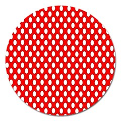 Red Circular Pattern Magnet 5  (round) by Jojostore