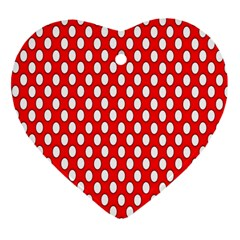 Red Circular Pattern Heart Ornament (2 Sides) by Jojostore