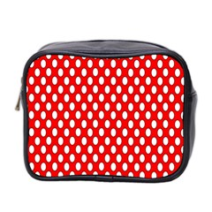 Red Circular Pattern Mini Toiletries Bag 2 Side by Jojostore