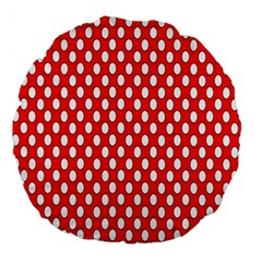 Red Circular Pattern Large 18  Premium Flano Round Cushions by Jojostore