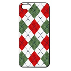 Red Green White Argyle Navy Apple Iphone 5 Seamless Case (black) by Jojostore