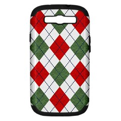 Red Green White Argyle Navy Samsung Galaxy S III Hardshell Case (PC+Silicone) by Jojostore