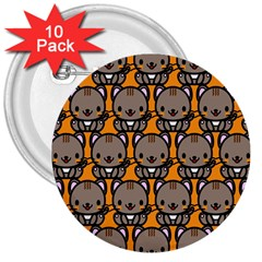 Sitcat Orange Brown 3  Buttons (10 Pack)  by Jojostore