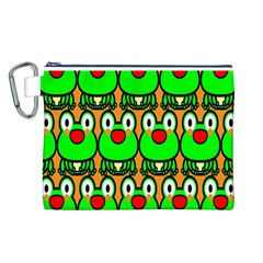 Sitfrog Orange Face Green Frog Copy Canvas Cosmetic Bag (l) by Jojostore