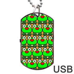 Sitfrog Orange Green Frog Dog Tag Usb Flash (one Side) by Jojostore