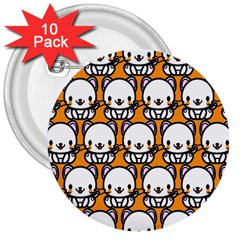 Sitwhite Cat Orange 3  Buttons (10 Pack)  by Jojostore