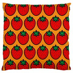 Strawberry Orange Large Flano Cushion Case (one Side)