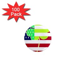 Usa Ireland American Flag Shamrock Irish Funny St Patrick Country Flag  1  Mini Magnets (100 Pack)  by yoursparklingshop