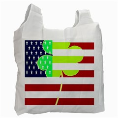 Usa Ireland American Flag Shamrock Irish Funny St Patrick Country Flag  Recycle Bag (one Side) by yoursparklingshop