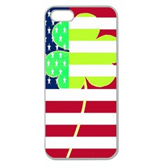 Usa Ireland American Flag Shamrock Irish Funny St Patrick Country Flag  Apple Seamless Iphone 5 Case (clear) by yoursparklingshop