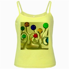 Colorful Glass Balls Yellow Spaghetti Tank