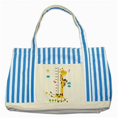 Cute Giraffe Monkey Striped Blue Tote Bag by Jojostore