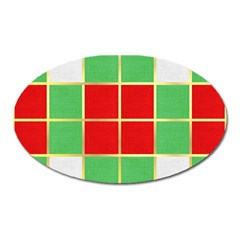 Christmas Fabric Textile Red Green Oval Magnet by Jojostore